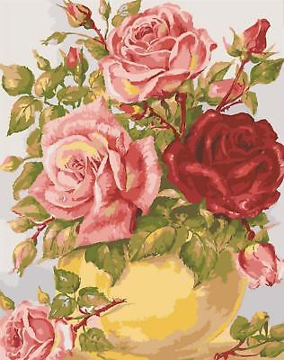 Grafitec Printed Tapestry/Needlepoint Canvas – Roses in Yellow Vase