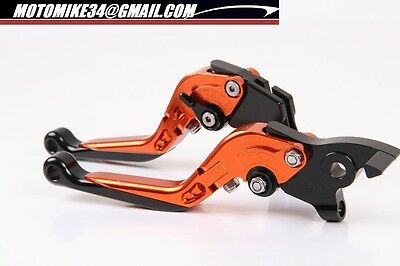 Levier levers flip-up repliable  Kawasaki Z750 2004 2006  ORANGE