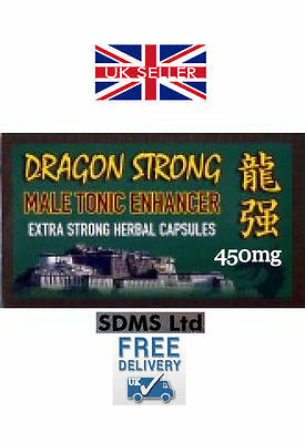 DRAGON STRONG 450mg CAPSULES x 4  *NATURAL MALE ENHANCEMENT AID PILL*