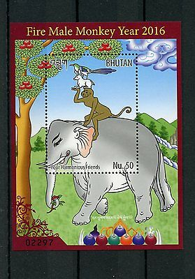 Bhutan 2016 MNH Year of Fire Male Monkey 1v S/S Chinese Lunar New Year Stamps