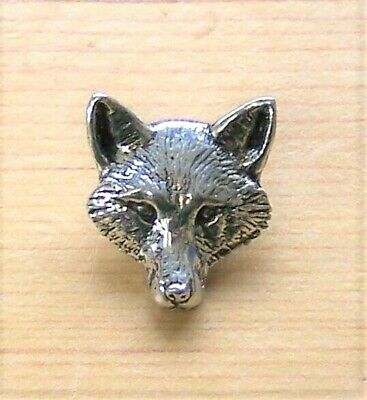 'Fox Head' English pewter pin badge (A72)