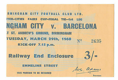 1960 - Birmingham City v Barcelona, Inter-Cities Fairs Cup Final Match Ticket