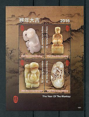 Antigua & Barbuda 2016 MNH Year of Monkey 4v M/S Chinese Lunar New Year Stamps