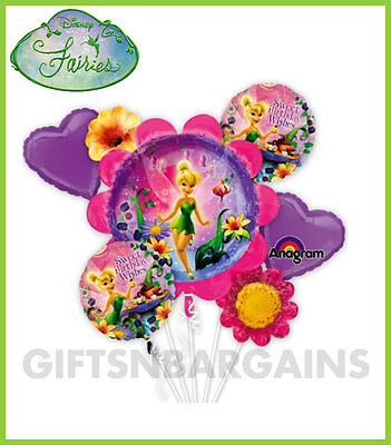Tinkerbell Balloon Bouquet 5 Foil Disney Tinker Bell Fairies Birthday Party