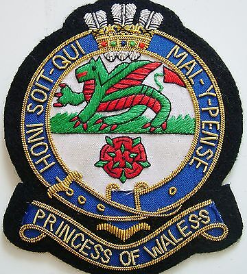 Pwrr Princess Of Wales Royal Regiment Hand Made Gold Bullion Wired Blazer Badge