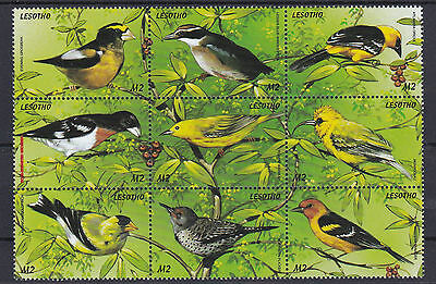 Lesotho  Birds  Sheet Of 9  M / N / H