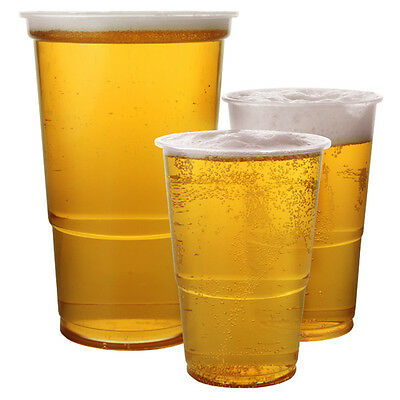 Pint Half 1/2 Clear Plastic Disposable Beer Glasses Cups Strong CE Marked