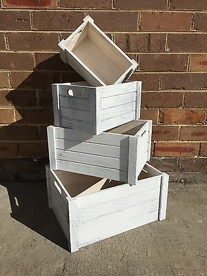 Set 4 Shabby Chic Wooden Storage Crate Boxes