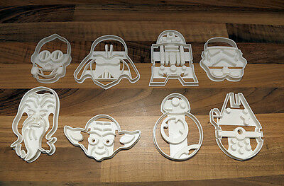 Star Wars Cookie Cutters x8 Vader, Trooper, C3PO  R2D2, BB8, Yoda, Chewy, Falcon