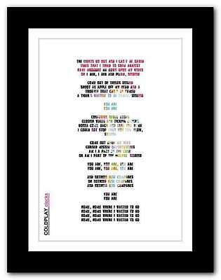 ❤ COLDPLAY ❤ clocks song lyrics poster art limited edition typography print #2