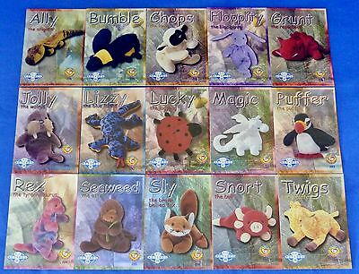 Ty Blue Retired Complete Set (15) S2 Beanie Baby Cards Series II-2 BBOC