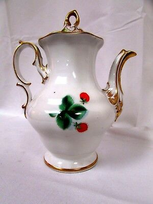 Antique KPM Porcelain Coffee pot W/ Strawberry Decoration