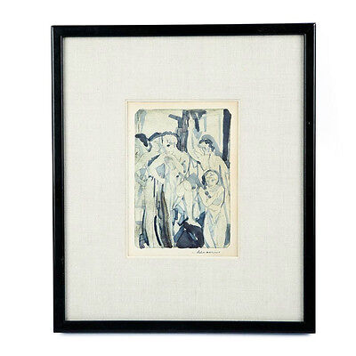 """""""Baptism"""" By Arthur Bowen Davies Signed 1918 Etching & Watercolor 13 3/4x11 3/4"""