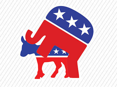 Cool REPUBLICAN ELEPHANT over DEMOCRATIC DONKEY Political Party Car Window Decal