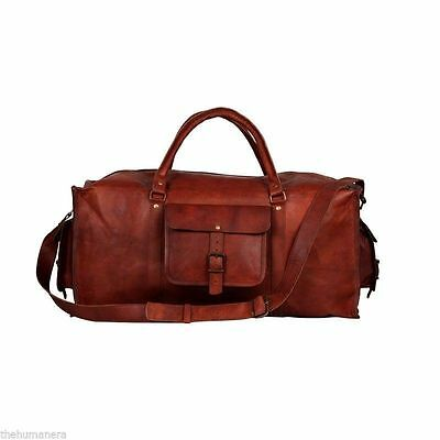 Top Men s duffel genuine Leather large vintage travel gym weekend overnight  bag b995acbade