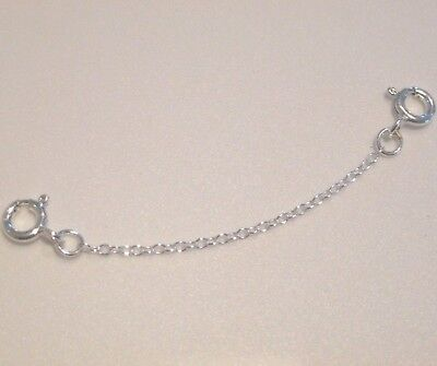 """925 Sterling Silver Extender Safety Fine Trace Chain 2 x Bolt Rings 1""""- 8"""" inch"""