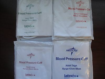 Lot of 4  MEDLINE ADULT BLOOD PRESSURE CUFF 4 sizes LARGE/LONG/THIGH SEALED