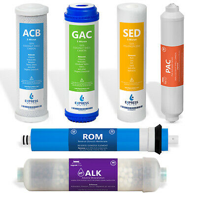 Alkaline System Full Replacement Filter Set 6 Total Filters With 50 GPD Membrane