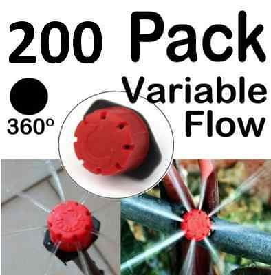 200 x Adjustable Flow Water Irrigation Dripper Drippers for Sprinkler System