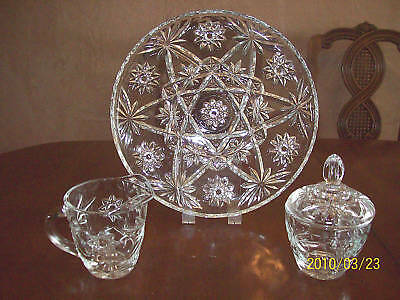 "Anchor Hocking Crystal Eapc Prescut Cream Sugar & 11"" Plate Star Of David"