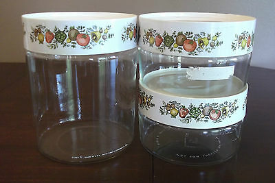 3 Vintage Pyrex Glass Canisters Spice Of Life 1970's