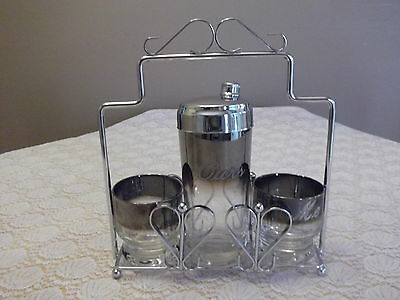2 Vintage Glasses Cocktail Shaker Chrome Caddy Dorothy Thorpe Silver Fade Ombre