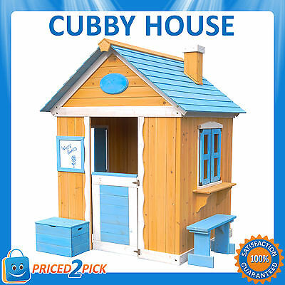 Kids Childrens Wooden Cubby House Painted Outdoor Play house Shop With Windows