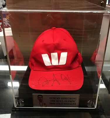 1988 Seoul Olympic Champion Duncan Armstrong Signed Cap In Display Case