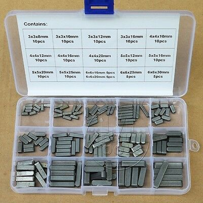 140Pcs Set Round Ended Feather Key Drive Shaft Parallel Keys 3mm 4mm 5mm 6mm Kit