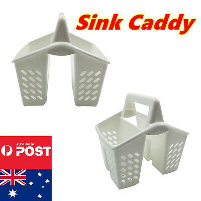 4 Sections Plastic Cutlery Utensil Drainer Holder Sink Tidy Organiser Rack Caddy