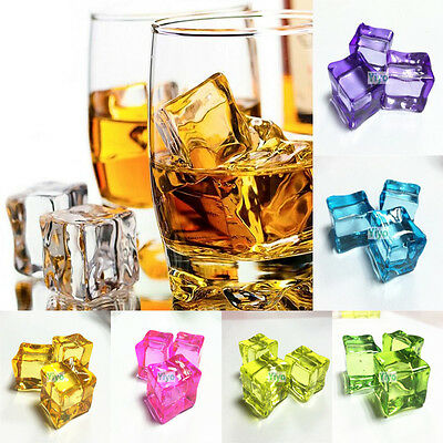 7Color Fake Artificial Acrylic Ice Cubes Crystal  Square Bar Club Supplier Decor