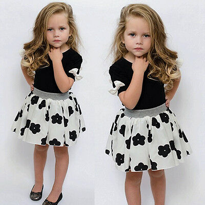 1-6Y Baby Girls Summer Party Princess Flower Tutu Dress Kids Shirt Skirts Outfit