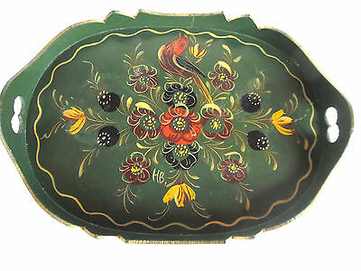 Hand Painted HINDELOOPEN Serving Tray Floral & Bird Motif 24.5 cm X 17.5 cm