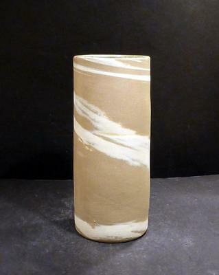 "Georgia W. J. Gordy Ivory And Tan Swirl Vase - 7 5/8"" - MINT -"