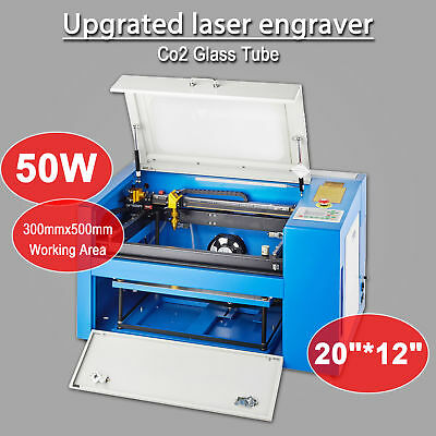 50W CO2 Laser Engraving Machine Engraver Cutter w/ Upgraded System