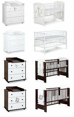 Baby Child Wood Furniture Set Cot Bed 120X60Cm Free Mattress + Chest Of Drawers