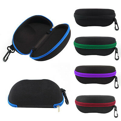 Portable Zipper Eye Glasses Sunglasses Clam Shell Hard EVA Case Protector Box UL