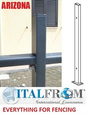 Post upright with footplate panel fencing galvanized wrought iron (Arizona)