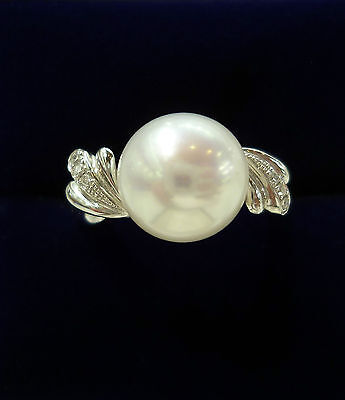 Freshwater Pearl Ring with Diamond Accents In 18ct White Gold - Size N