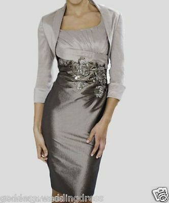 Grace Taffeta Mother Of The Bride Outfits Wedding Guest Dress With Free Jacket