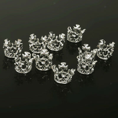 10x 10mm Silver Plated Crown Alloy Spacer Bead Fit Making DIY Bracelet Charm