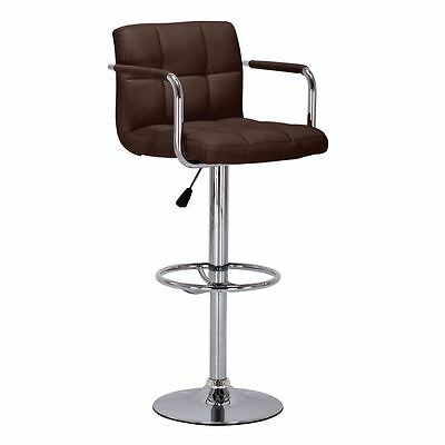 Adjustable Breakfast Bar Chair with Padded Leather Effect Seat Chrome Base