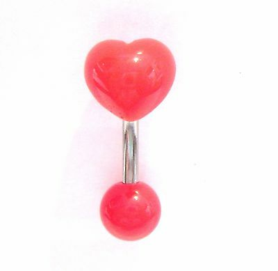 Surgical Steel Red Heart Curved Barbell VCH Clit Clitoral Hood Ring Bar 14 gauge