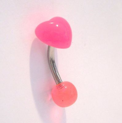 Surgical Steel Pink Heart Curved Barbell VCH Clit Clitoral Hood Ring 14 gauge