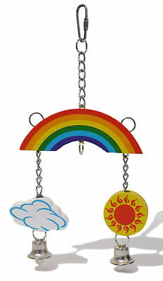 Rosewood Boredom Breaker Rainbow Mobile Hanging Wooden Rabbit Hamster Bird Toy