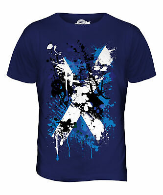 Scotland Flag Abstract Print Mens T-Shirt Top Scottish St Andrews Rugby Football