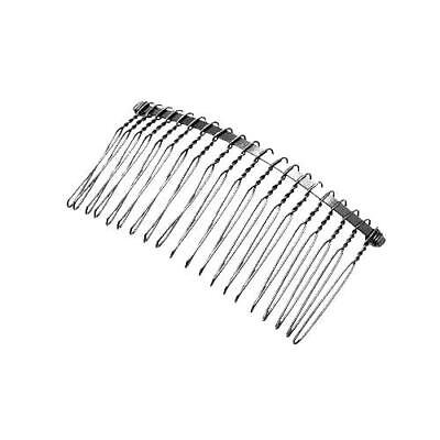 Pack Of 5 x Platinum Plated Iron 38mm x 77mm Hair Combs HA06305