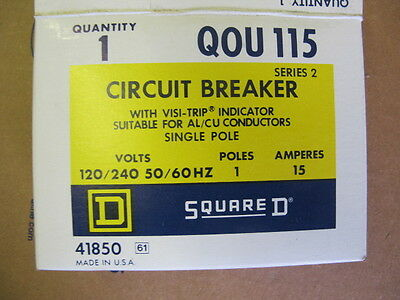 Square D QOU115, 1 POLE 15 AMP 120/240 VOLT Circuit Breaker- NEW