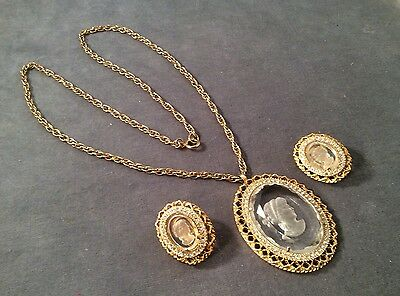 Vintage Gold Tone Glass Intaglio Cameo Necklace W/ Matching Clip Earrings