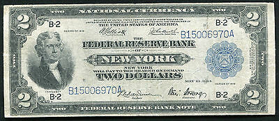 """Fr. 752 1918 $2 Two Dollars """"battleship"""" Federal Reserve Bank Note Very Fine"""